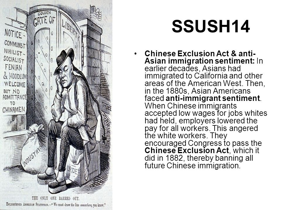 "an examination of the chinese exclusion act The immigration act of 1882 was a united states unlike the chinese exclusion act the legislation dictated that ""if on such examination there shall be."