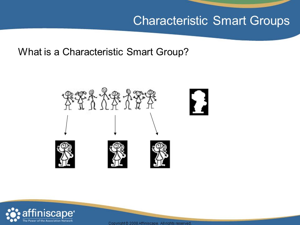 Copyright © 2008 Affiniscape. All rights reserved. Characteristic Smart Groups What is a Characteristic Smart Group?