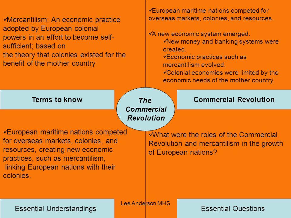 Lee Anderson MHS The Commercial Revolution Terms to knowCommercial Revolution Essential QuestionsEssential Understandings Mercantilism: An economic pr