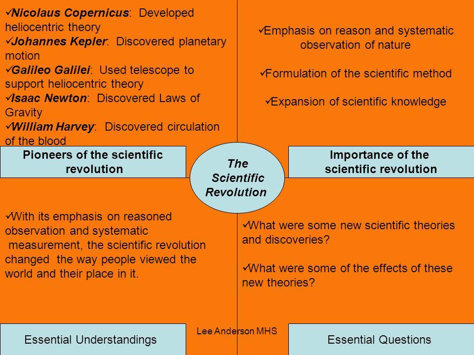 Lee Anderson MHS The Scientific Revolution Pioneers of the scientific revolution Importance of the scientific revolution Essential QuestionsEssential