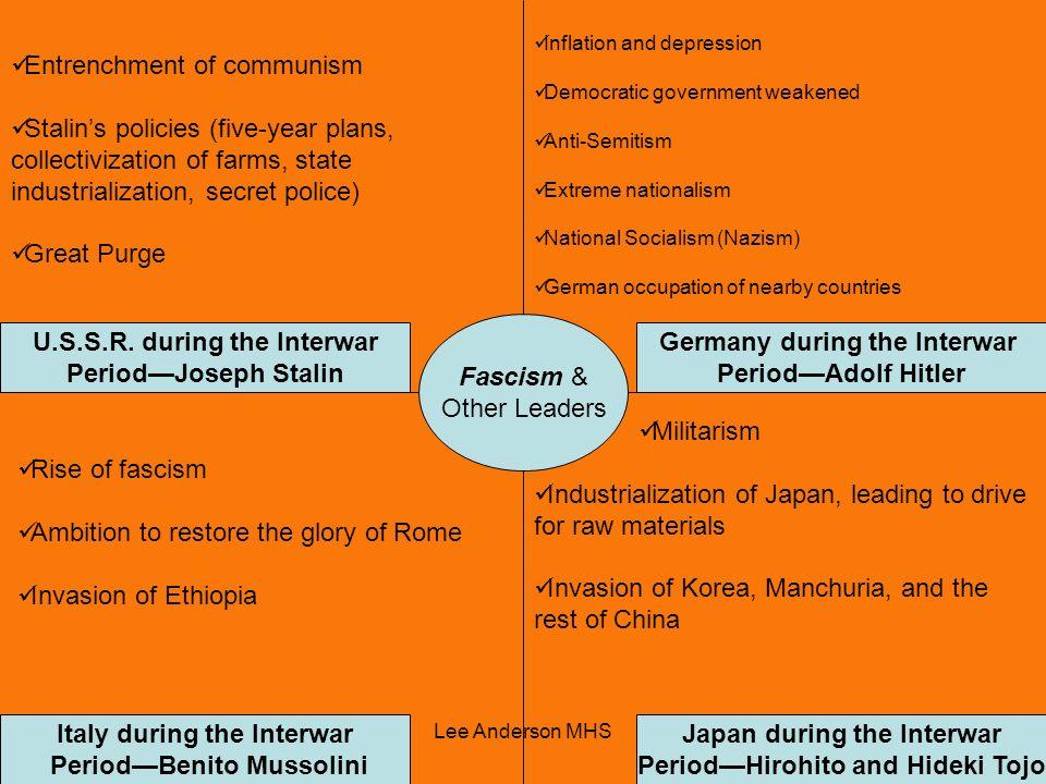 Lee Anderson MHS Fascism & Other Leaders U.S.S.R. during the Interwar PeriodJoseph Stalin Germany during the Interwar PeriodAdolf Hitler Japan during