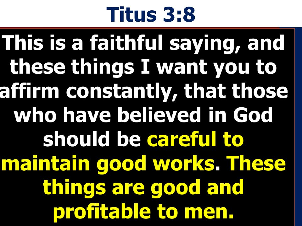 Titus 3:8 This is a faithful saying, and these things I want you to affirm constantly, that those who have believed in God should be careful to maintain good works.