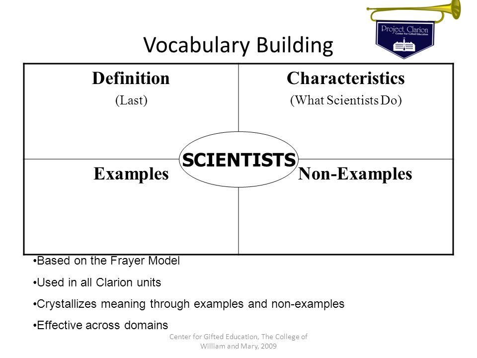 Vocabulary Building Definition (Last) Characteristics (What Scientists Do) Examples Non-Examples SCIENTISTS Center for Gifted Education, The College o