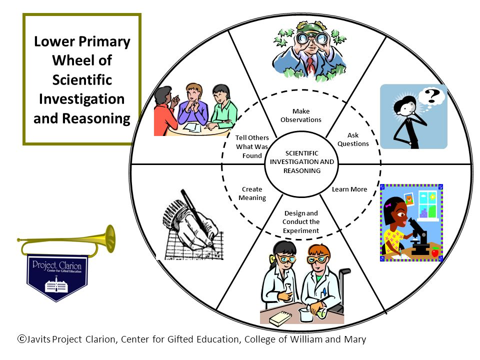 Lower Primary Wheel of Scientific Investigation and Reasoning Javits Project Clarion, Center for Gifted Education, College of William and Mary SCIENTI