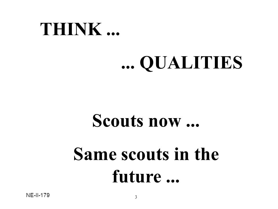 NE-II-179 Discussion: Ask: T hink about young people currently in Cub Scouting, Boy Scouting, Varsity Scouting and Venturing. Now imagine same people 10 years in the future what might they be doing, living, spending their time.