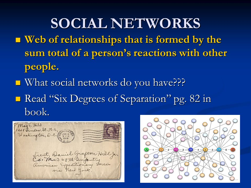 SOCIAL NETWORKS Web of relationships that is formed by the sum total of a persons reactions with other people.