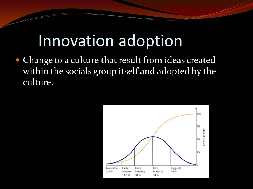 Innovation adoption Change to a culture that result from ideas created within the socials group itself and adopted by the culture.
