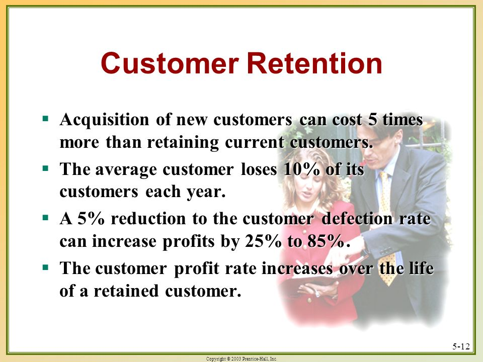 Copyright © 2003 Prentice-Hall, Inc. 5-12 Customer Retention Acquisition of new customers can cost 5 times more than retaining current customers. Acqu