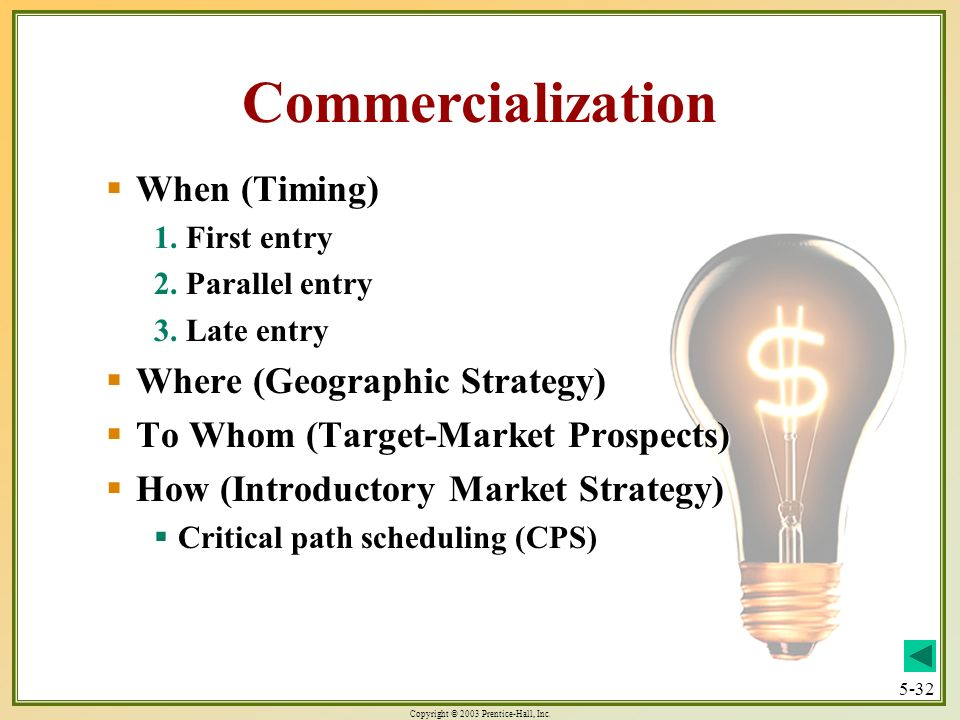 Copyright © 2003 Prentice-Hall, Inc. 5-32 Commercialization When (Timing) When (Timing) 1. First entry 2. Parallel entry 3. Late entry Where (Geograph