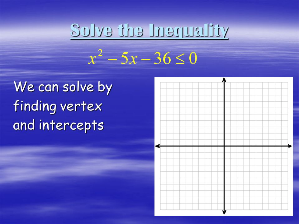 Solve the Inequality We can solve by finding vertex and intercepts