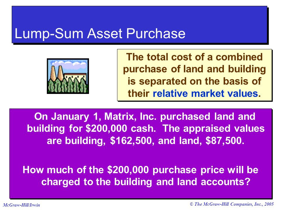 © The McGraw-Hill Companies, Inc., 2005 McGraw-Hill/Irwin On January 1, Matrix, Inc. purchased land and building for $200,000 cash. The appraised valu
