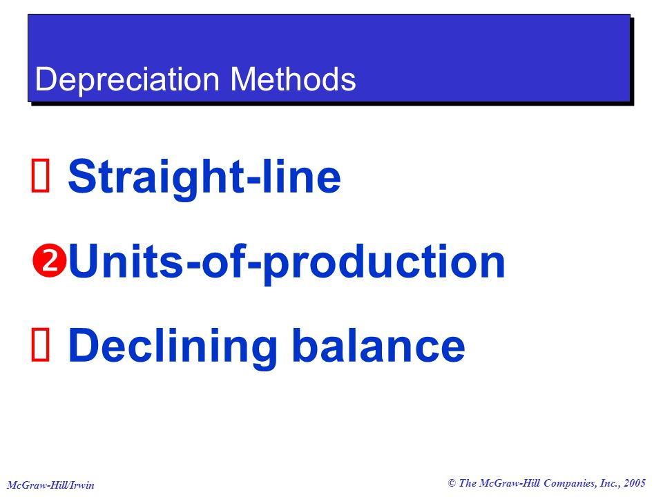 © The McGraw-Hill Companies, Inc., 2005 McGraw-Hill/Irwin Straight-line Units-of-production Declining balance Depreciation Methods