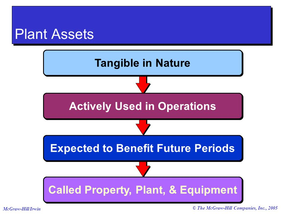 © The McGraw-Hill Companies, Inc., 2005 McGraw-Hill/Irwin Called Property, Plant, & Equipment Plant Assets Expected to Benefit Future Periods Actively Used in Operations Tangible in Nature