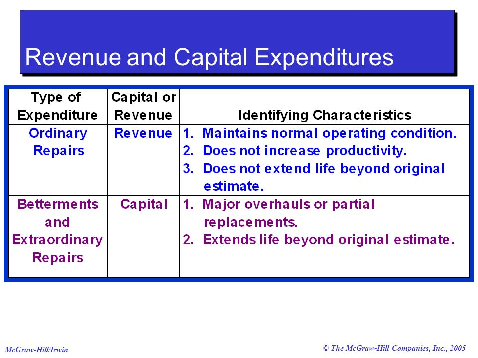 © The McGraw-Hill Companies, Inc., 2005 McGraw-Hill/Irwin Revenue and Capital Expenditures