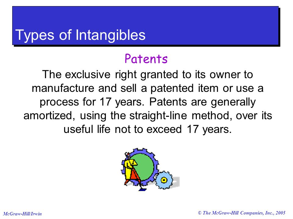 © The McGraw-Hill Companies, Inc., 2005 McGraw-Hill/Irwin Types of Intangibles Patents The exclusive right granted to its owner to manufacture and sell a patented item or use a process for 17 years.