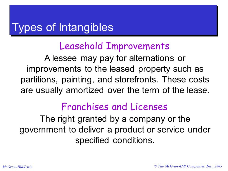 © The McGraw-Hill Companies, Inc., 2005 McGraw-Hill/Irwin Types of Intangibles Leasehold Improvements A lessee may pay for alternations or improvements to the leased property such as partitions, painting, and storefronts.