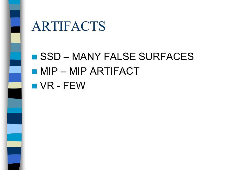 ARTIFACTS SSD – MANY FALSE SURFACES MIP – MIP ARTIFACT VR - FEW