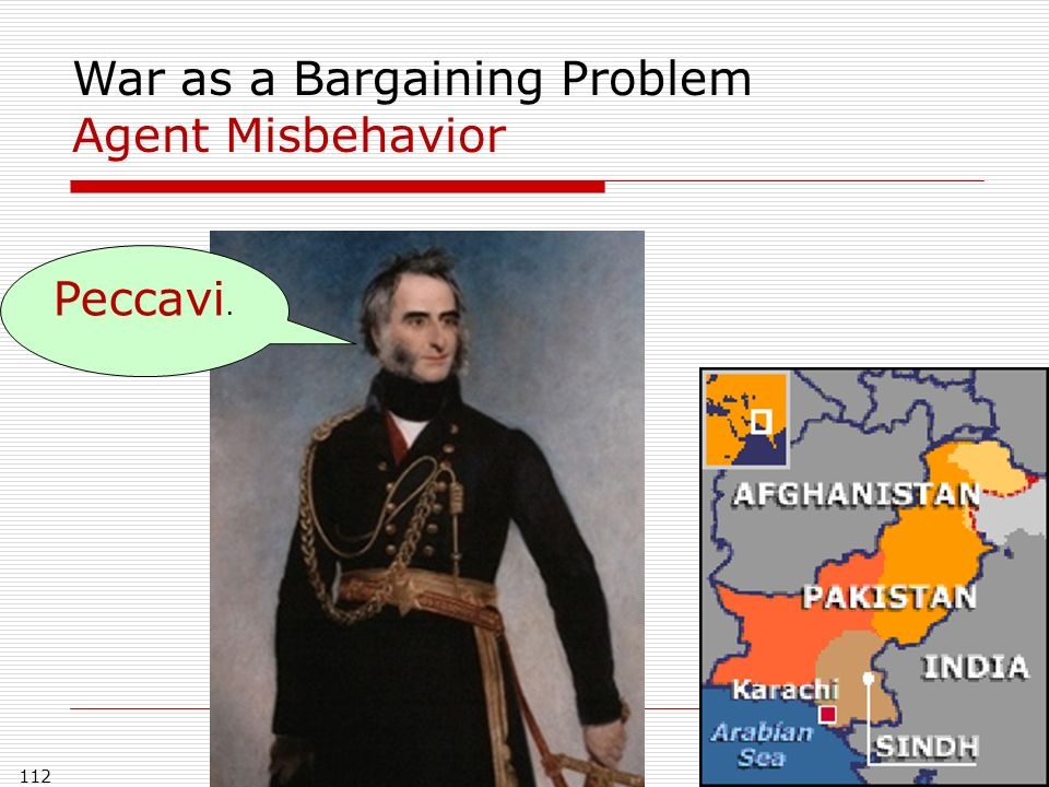 112 War as a Bargaining Problem Agent Misbehavior Peccavi.