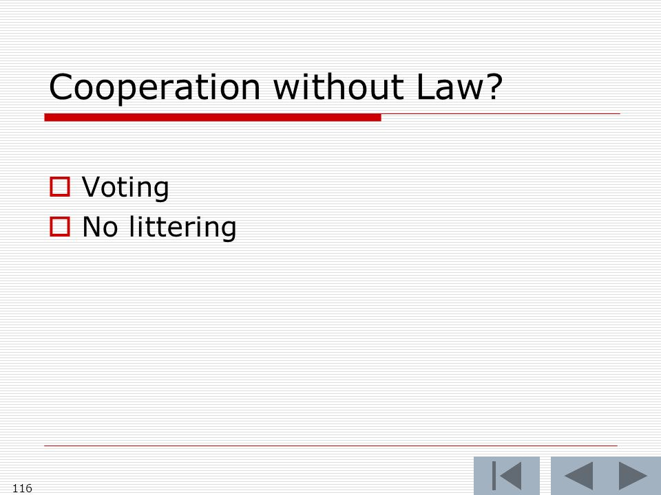 Cooperation without Law Voting No littering 116