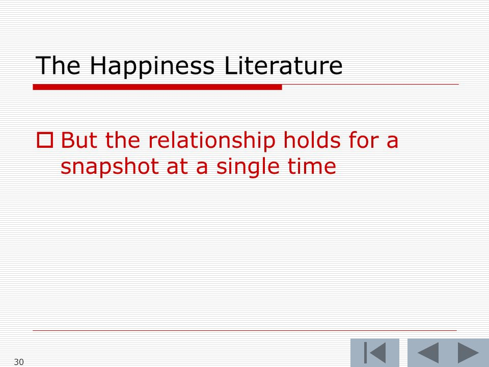 The Happiness Literature But the relationship holds for a snapshot at a single time 30
