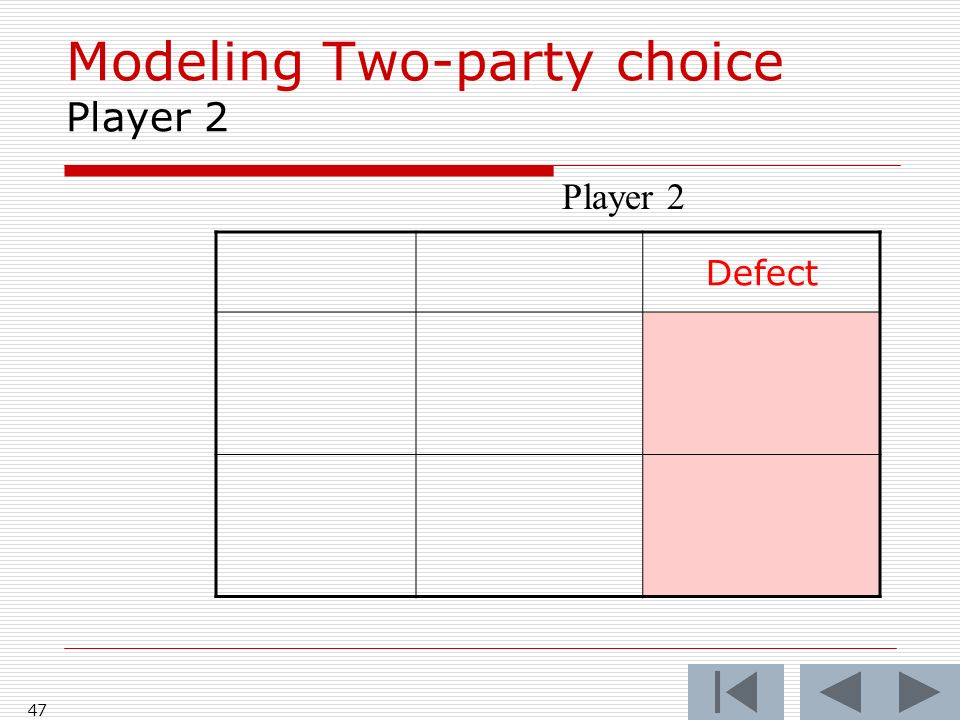 47 Defect Player 2 Modeling Two-party choice Player 2