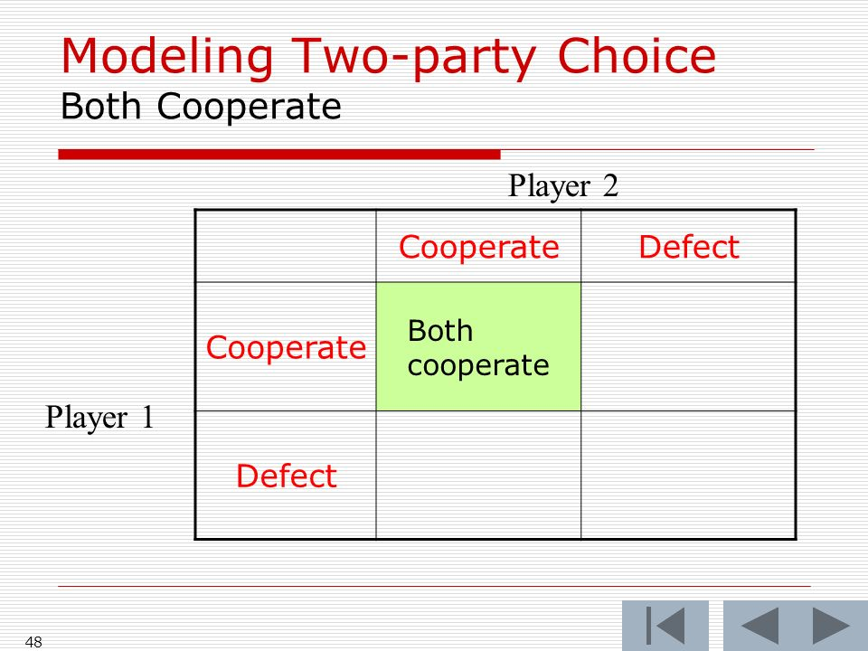 48 CooperateDefect Cooperate Both cooperate Defect Player 2 Player 1 Modeling Two-party Choice Both Cooperate