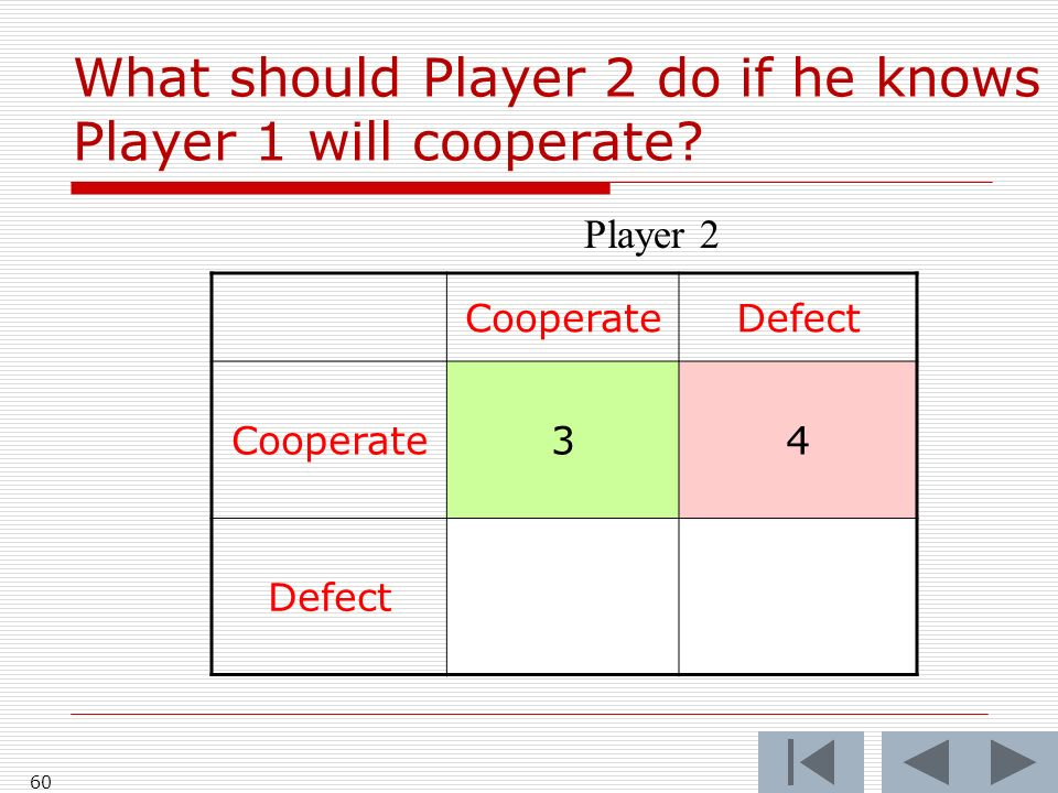 60 CooperateDefect Cooperate34 Defect Player 2 What should Player 2 do if he knows Player 1 will cooperate