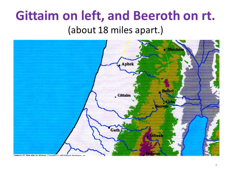 Gittaim on left, and Beeroth on rt. (about 18 miles apart.) 9