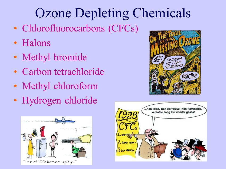 Ozone Depleting Chemicals Chlorofluorocarbons (CFCs) Halons Methyl bromide Carbon tetrachloride Methyl chloroform Hydrogen chloride...use of CFCs incr