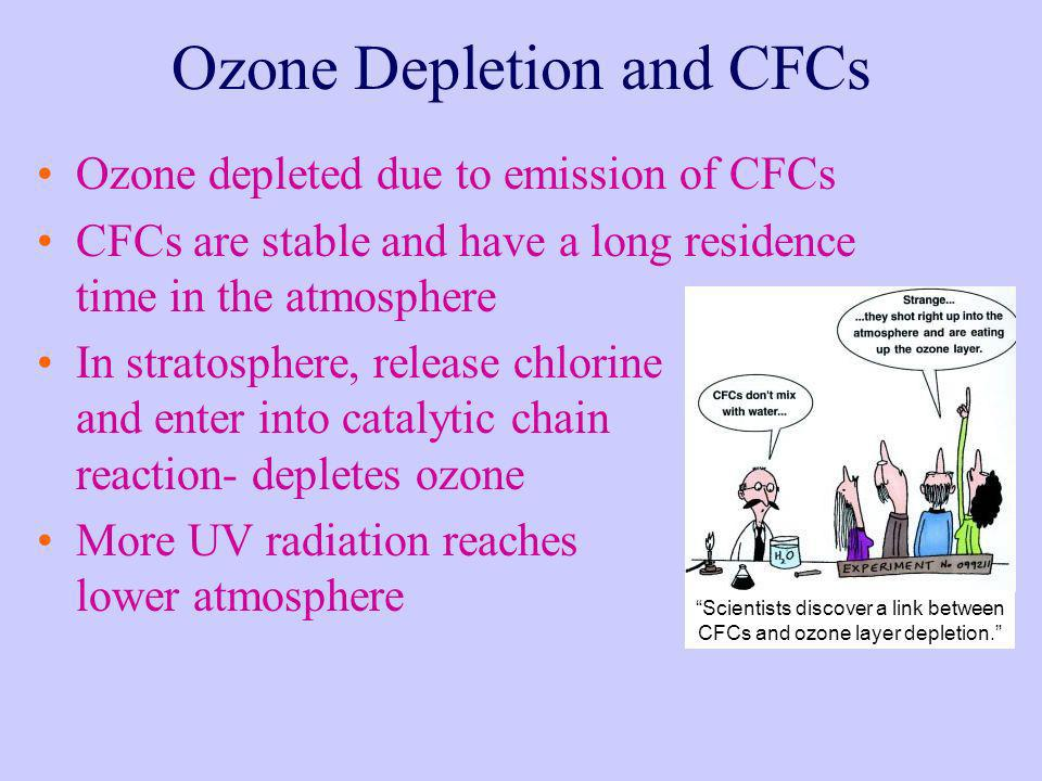 Ozone Depletion and CFCs Ozone depleted due to emission of CFCs CFCs are stable and have a long residence time in the atmosphere In stratosphere, rele