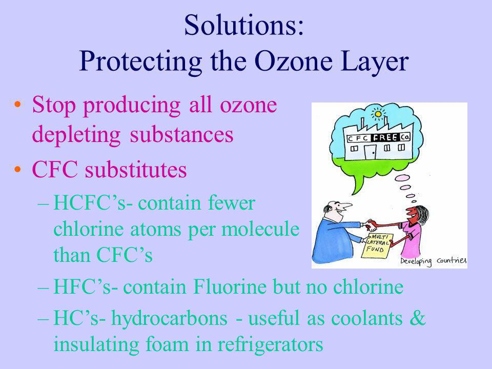 Solutions: Protecting the Ozone Layer Stop producing all ozone depleting substances CFC substitutes –HCFCs- contain fewer chlorine atoms per molecule