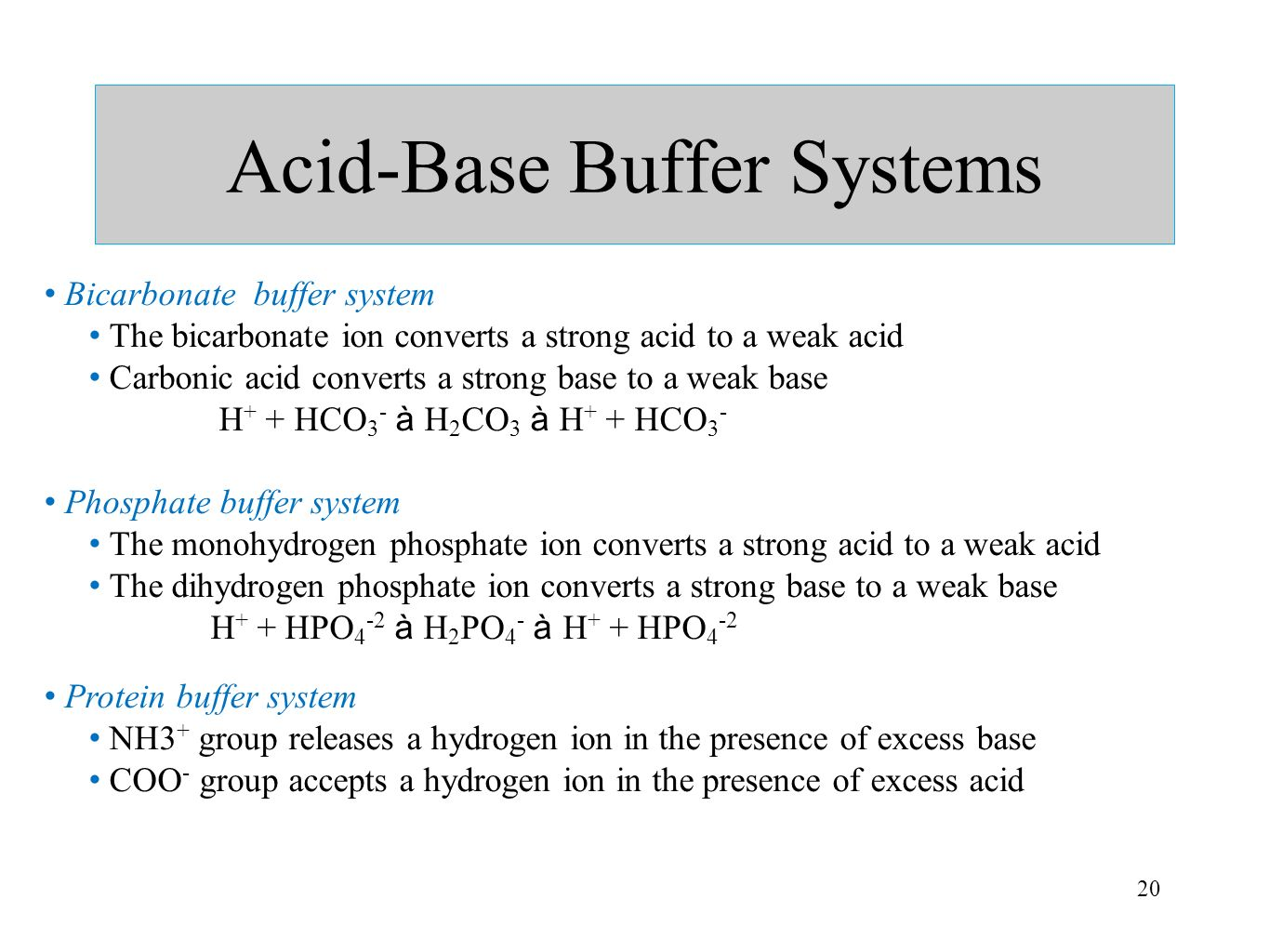 20 Acid-Base Buffer Systems Bicarbonate buffer system The bicarbonate ion converts a strong acid to a weak acid Carbonic acid converts a strong base t