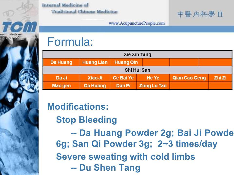 Formula: Modifications: Stop Bleeding -- Da Huang Powder 2g; Bai Ji Powder 6g; San Qi Powder 3g; 2~3 times/day Severe sweating with cold limbs- -- Du