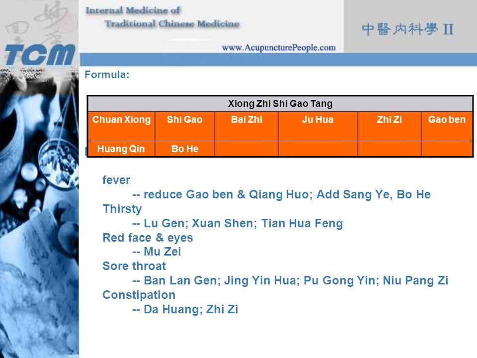Formula: Modifications: fever -- reduce Gao ben & Qiang Huo; Add Sang Ye, Bo He Thirsty -- Lu Gen; Xuan Shen; Tian Hua Feng Red face & eyes -- Mu Zei