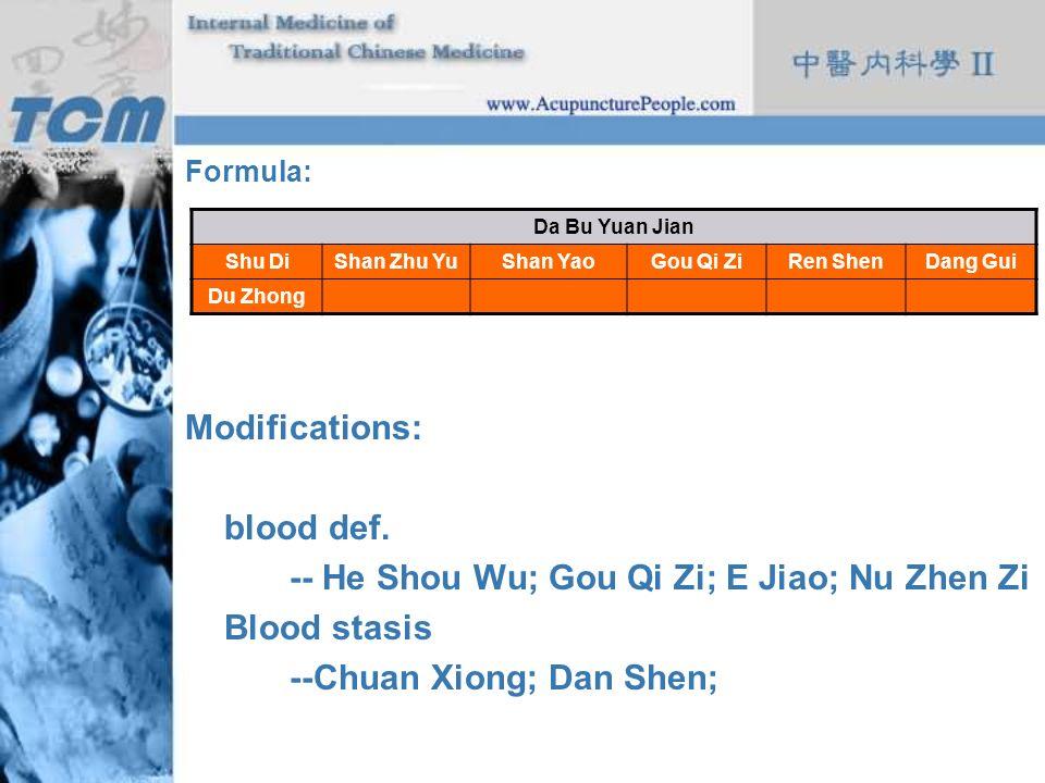 Formula: Modifications: blood def. -- He Shou Wu; Gou Qi Zi; E Jiao; Nu Zhen Zi Blood stasis --Chuan Xiong; Dan Shen; Da Bu Yuan Jian Shu DiShan Zhu Y