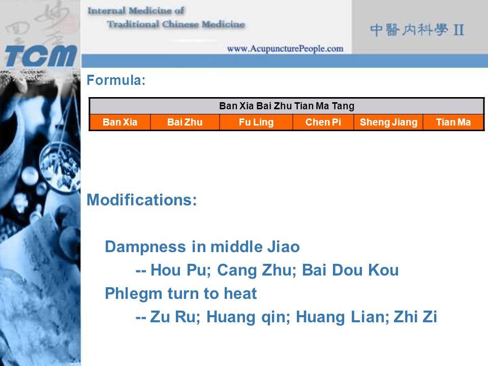 Formula: Modifications: Dampness in middle Jiao -- Hou Pu; Cang Zhu; Bai Dou Kou Phlegm turn to heat -- Zu Ru; Huang qin; Huang Lian; Zhi Zi Ban Xia B