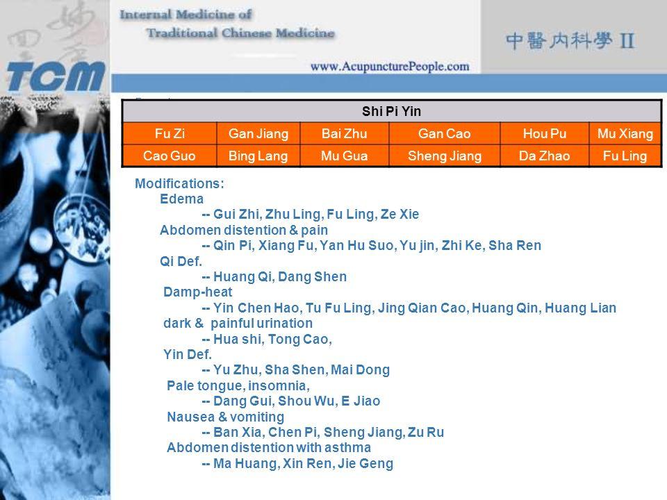Formula: Modifications: Edema -- Gui Zhi, Zhu Ling, Fu Ling, Ze Xie Abdomen distention & pain -- Qin Pi, Xiang Fu, Yan Hu Suo, Yu jin, Zhi Ke, Sha Ren
