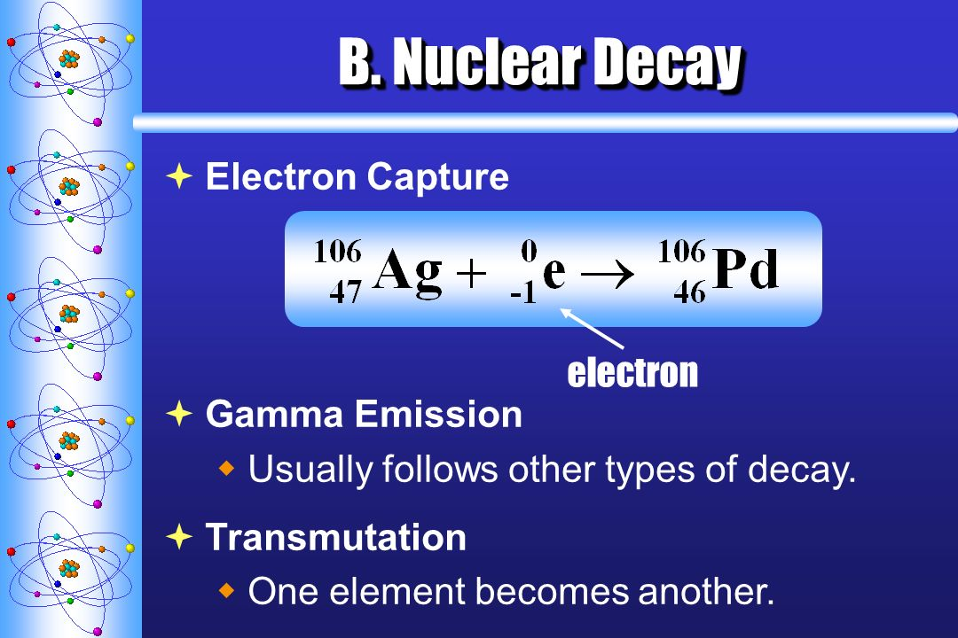 B. Nuclear Decay Electron Capture electron Gamma Emission Usually follows other types of decay. Transmutation One element becomes another.