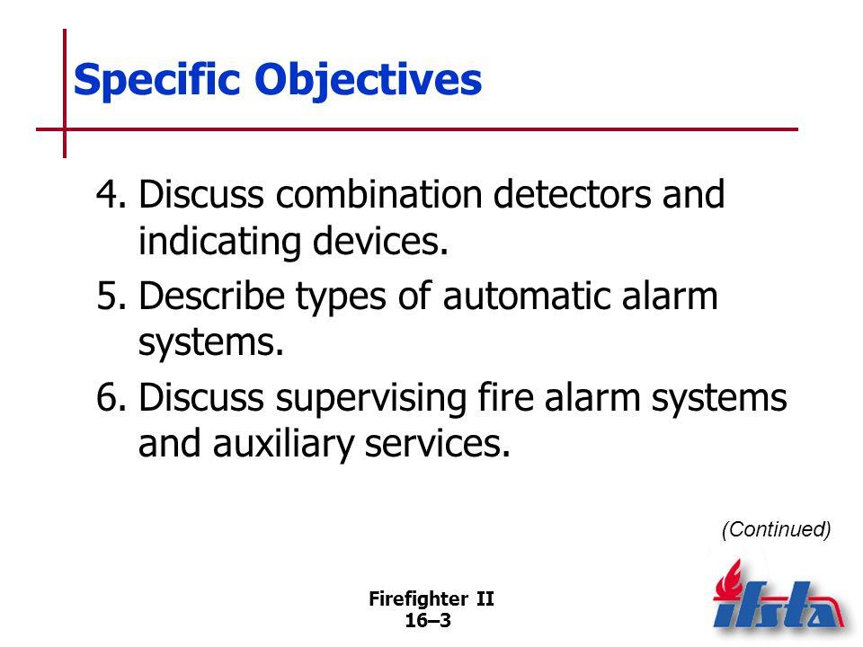 Firefighter II 16–2 Specific Objectives 1.Describe types of heat detectors. 2.Describe types of smoke detectors/alarms. 3.Explain how flame detectors
