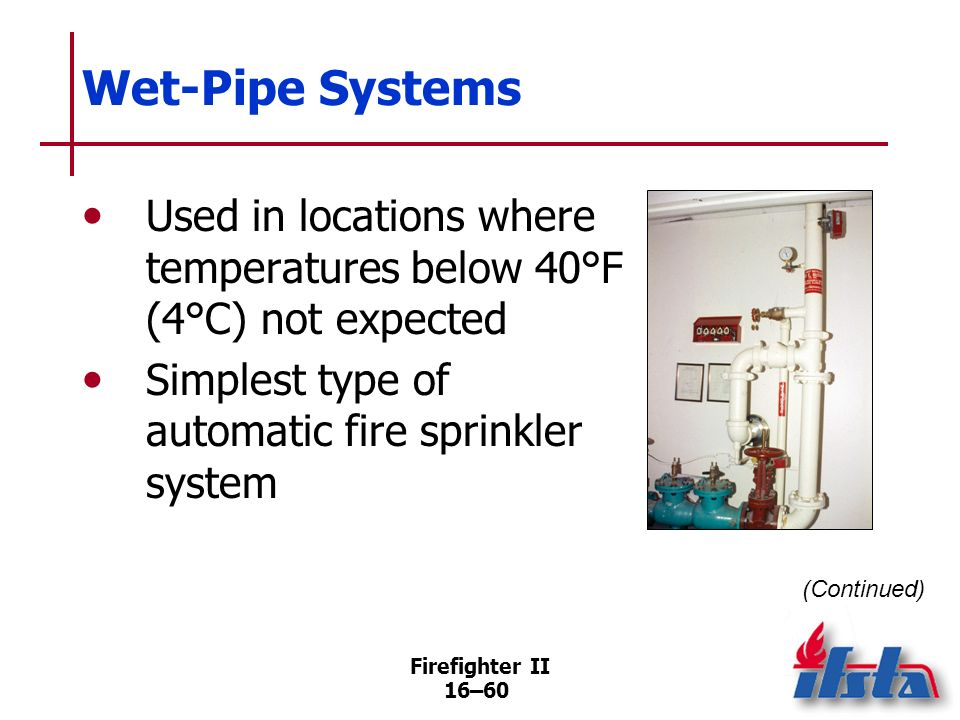 Firefighter II 16–59 Water Supply Departmental preincident plans may identify the pressure at which a sprinkler system should be supported
