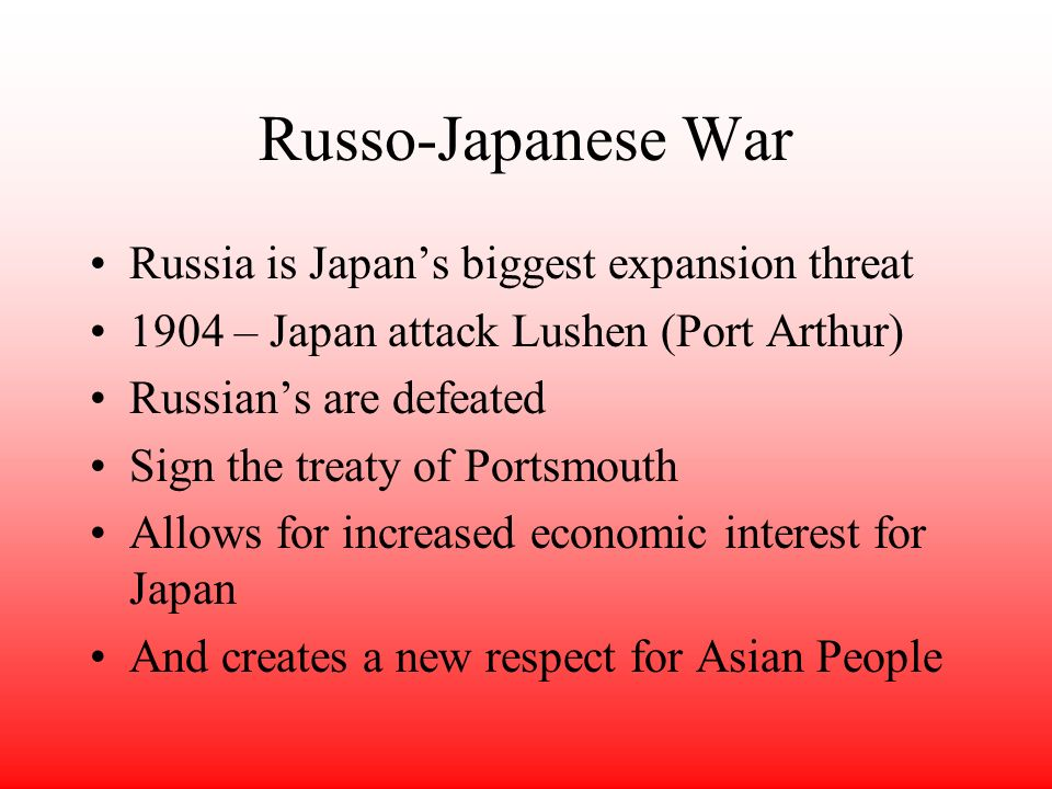 1900 Boxer Rebellion Japan gains economic power in China and with political power with Britain –Open Door Policy (American) –Japan gains interest in C