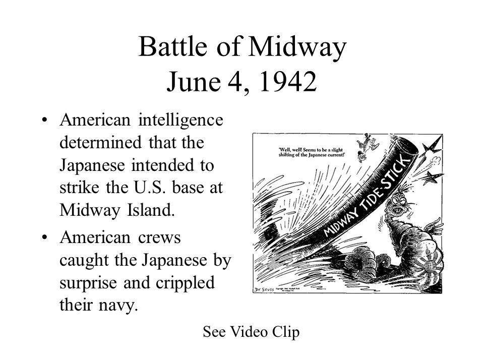 Battle of Coral Sea May 7, 1942 American and Japanese carrier fleets engage in battle off the coast of Australia. Though the Japanese inflict more dam