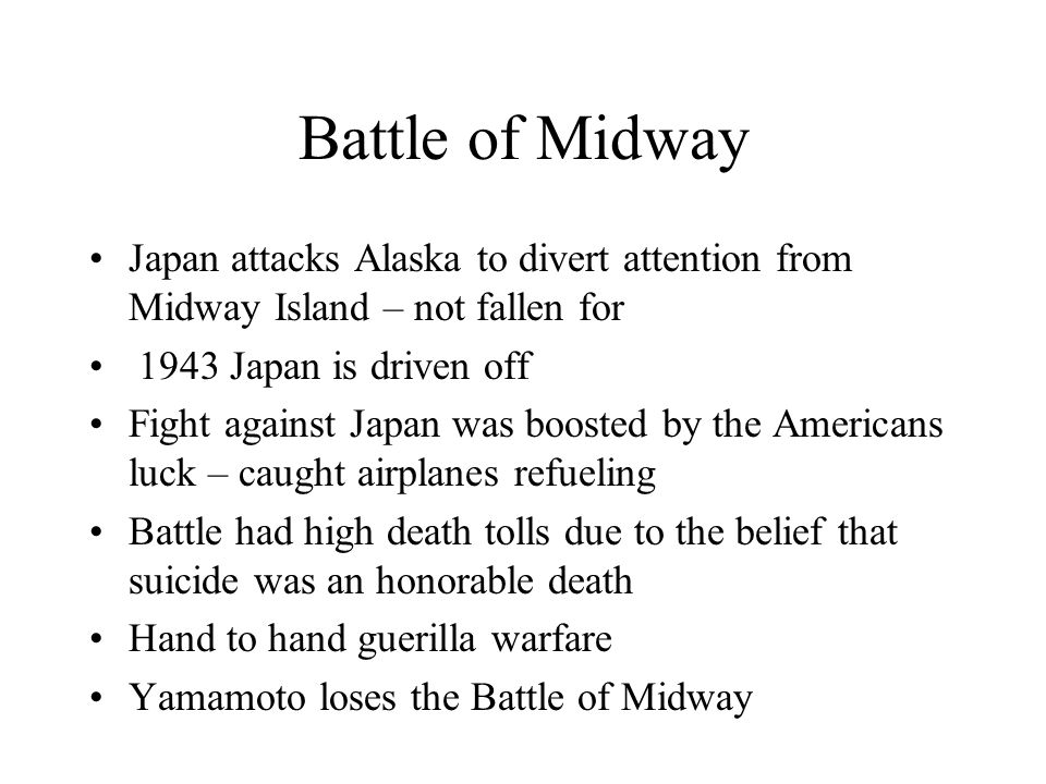 Battle of Midway June 4, 1942 American intelligence determined that the Japanese intended to strike the U.S.