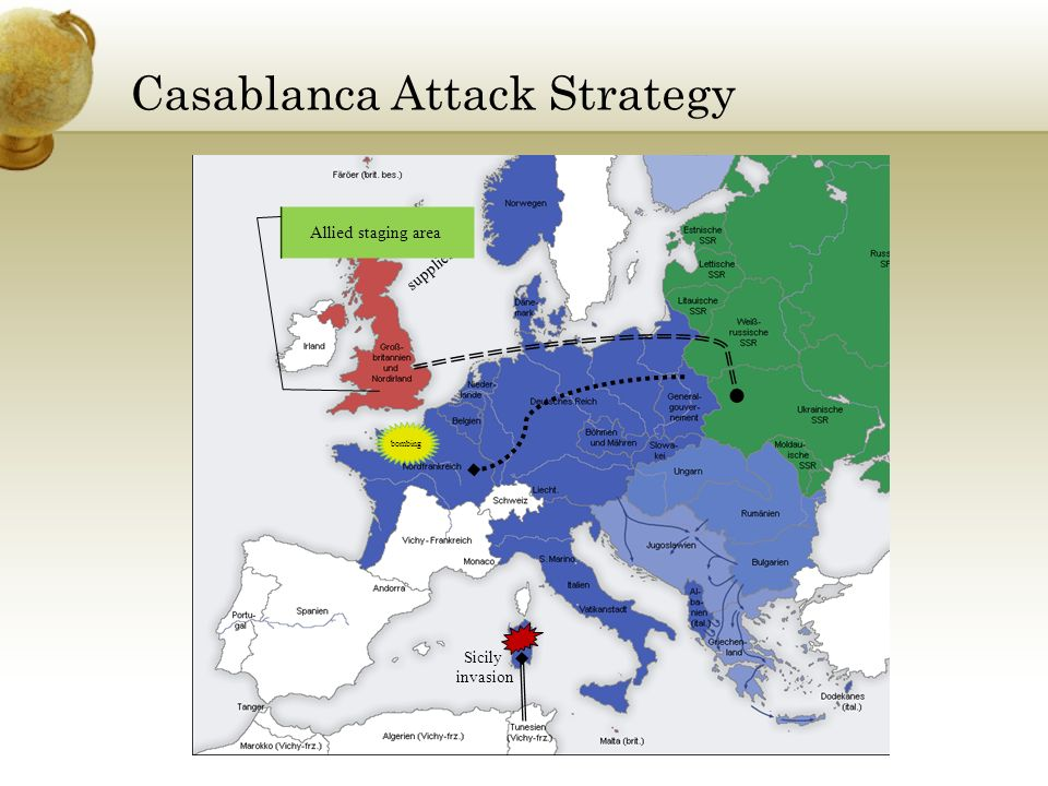 Casablanca Attack Strategy supplies Sicily invasion Allied staging area bombing