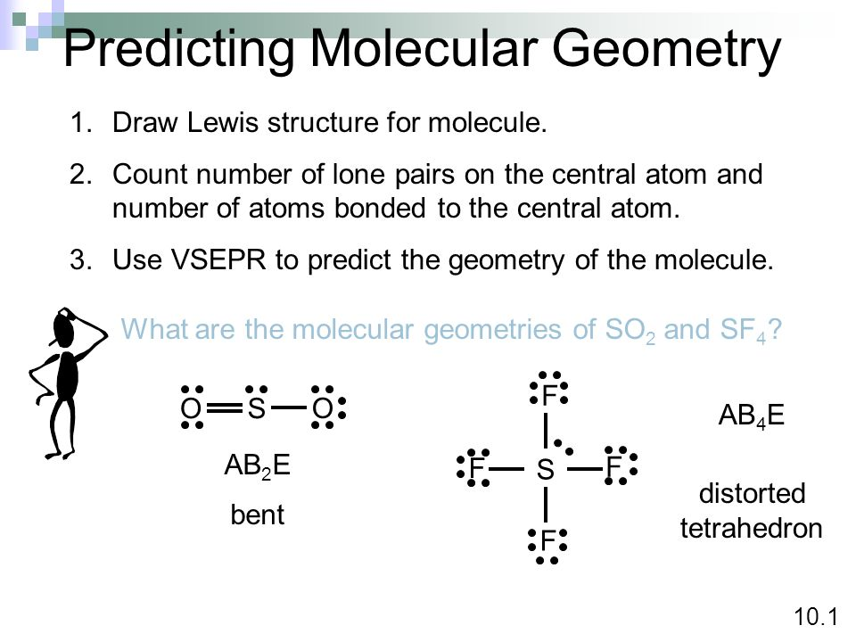 Predicting Molecular Geometry 1.Draw Lewis structure for molecule. 2.Count number of lone pairs on the central atom and number of atoms bonded to the
