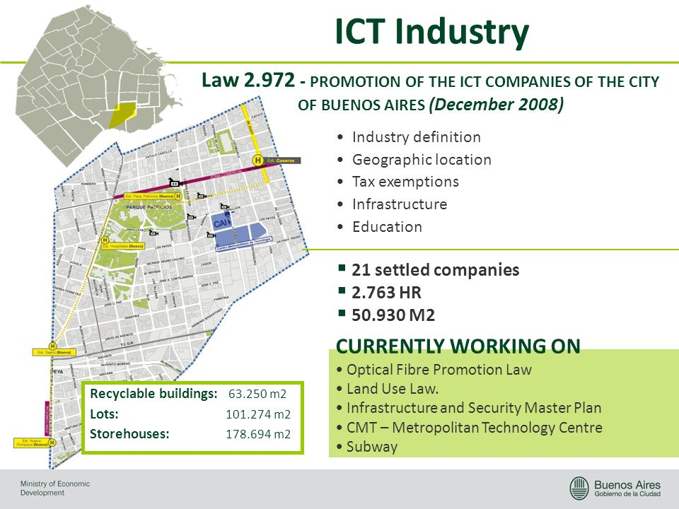 ICT Industry Law 2.972 - PROMOTION OF THE ICT COMPANIES OF THE CITY OF BUENOS AIRES (December 2008) Industry definition Geographic location Tax exemptions Infrastructure Education 21 settled companies 2.763 HR 50.930 M2 Optical Fibre Promotion Law Land Use Law.