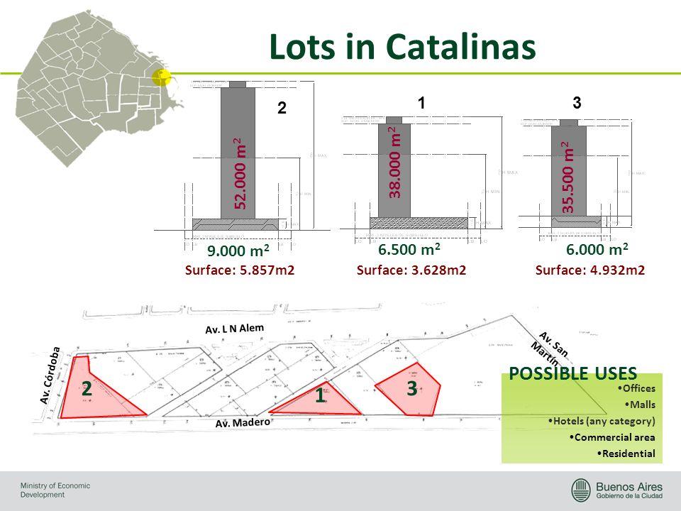 Lots in Catalinas Surface: 5.857m2 52.000 m 2 9.000 m 2 Surface: 3.628m2 38.000 m 2 6.500 m 2 Surface: 4.932m2 35.500 m 2 6.000 m 2 Av. Madero Av. L N