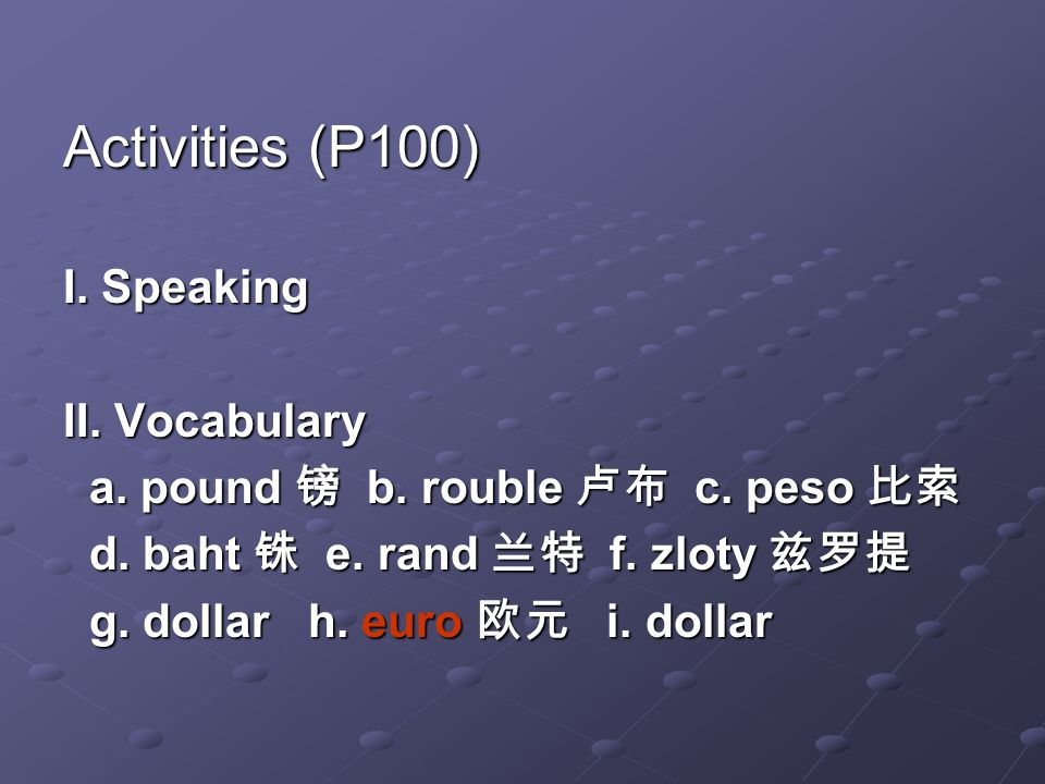 Activities (P100) I. Speaking II. Vocabulary a. pound b.