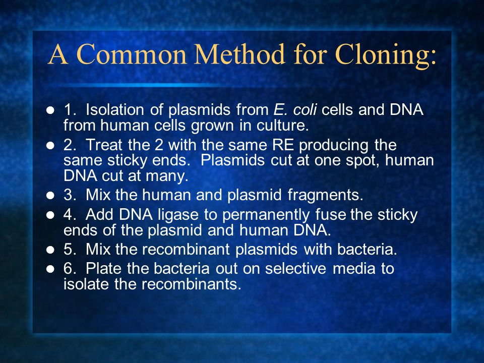 A Common Method for Cloning: 1. Isolation of plasmids from E. coli cells and DNA from human cells grown in culture. 2. Treat the 2 with the same RE pr