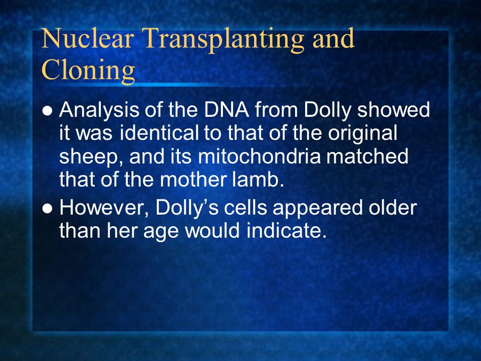Nuclear Transplanting and Cloning Analysis of the DNA from Dolly showed it was identical to that of the original sheep, and its mitochondria matched t